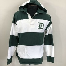 VTG Barbarian Hoodie Striped Hooded Rugby Jersey Shirt Pullover 90s Pro ... - $35.59