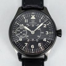 AuthOMEGA antique Military black case back skeleton hand-winding watch - $1,482.27