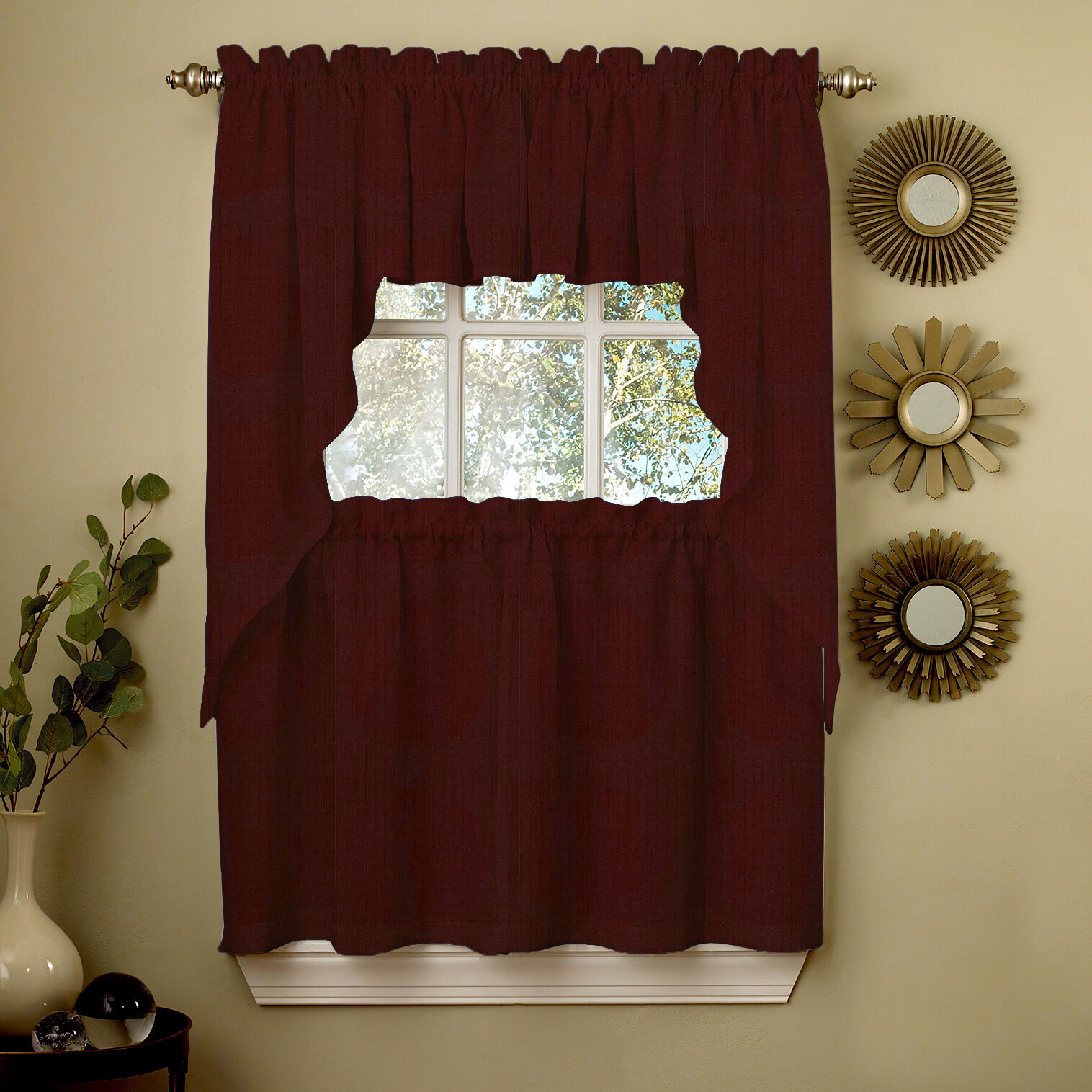 Primary image for Wine Opaque Solid Ribcord Kitchen Curtains Choice of Tier Valance or Swag