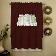 Wine Opaque Solid Ribcord Kitchen Curtains Choice of Tier Valance or Swag - $10.99+