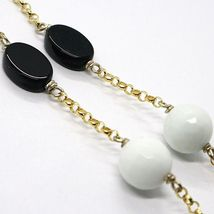 SILVER 925 NECKLACE, YELLOW, ONYX, AGATE WHITE, DOUBLE HEART, PENDANT image 6