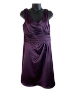 David's Bridal F14823 Size 8 Satin Bridesmaid Dress Purple Plum Sleevele... - $32.68