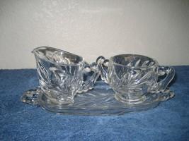 Vintage Depression Clear Glass Cream & Sugar & Tray Leaf Pattern - $11.83