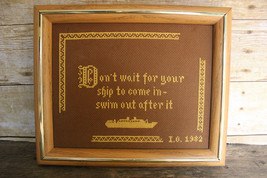 Vintage Needlepoint - Don't Wait for Your Ship to Come In Framed Nautica... - $23.17