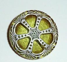 Olive Green Czech Glass Wheel Button - 27mm - Olivine Green w/ Matte Sil... - $8.29