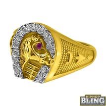 Horseshoe 10K Yellow Gold CZ Mens Bling Ring - $403.20
