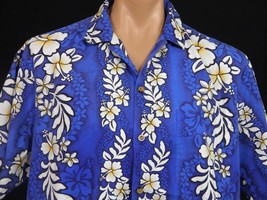 Jade Fashions Hawaiian Shirt Mens XL Blue with White Hibiscus Border Print - $18.69