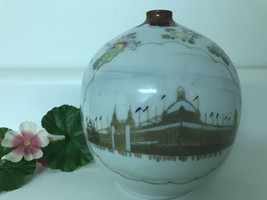 Chinese Round Vase Floral Japanese Asian Oriental Bud Gold Buildings Cer... - $20.26