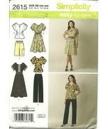 Simplicity Sewing Pattern 2615 Womens Dress Top Pants Shorts Sz 20W - 28... - $9.99