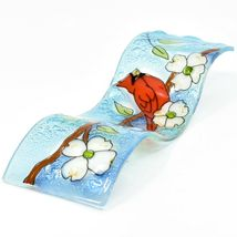 Fused Art Glass Cardinal Flower Dogwood Wavy Decor Sun Catcher Handmade Ecuador image 6