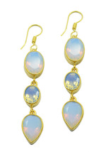 Yellow Gold Plated Glass exquisite Fire Opal CZ jewellery Earring UK gift - $26.34