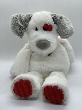Mary Meyer Plush White Puppy Dog Red Heart Grey Ears Soft Stuffed Animal... - $14.85
