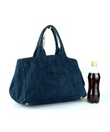Authentic PRADA Milano Canapa GM Blue Denim Tote Hand Bag Purse Made Italy - $444.51