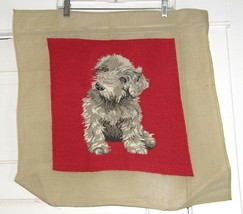 Embroidered Needlework Dog Puppy Terrier on Red Background - $12.06