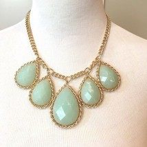 Large Mint Green Teardrop Statement Necklace - £17.81 GBP