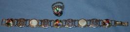 Vtg Costume Jewelry Set Bracelet Adjustable Ring Hippie Retro 1970's Sil... - $19.05