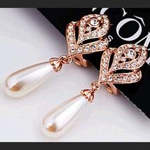 Luxury Round Column Pendant Hollow Crystal Leaf Trendy Ladies Drop Dangl... - $7.42