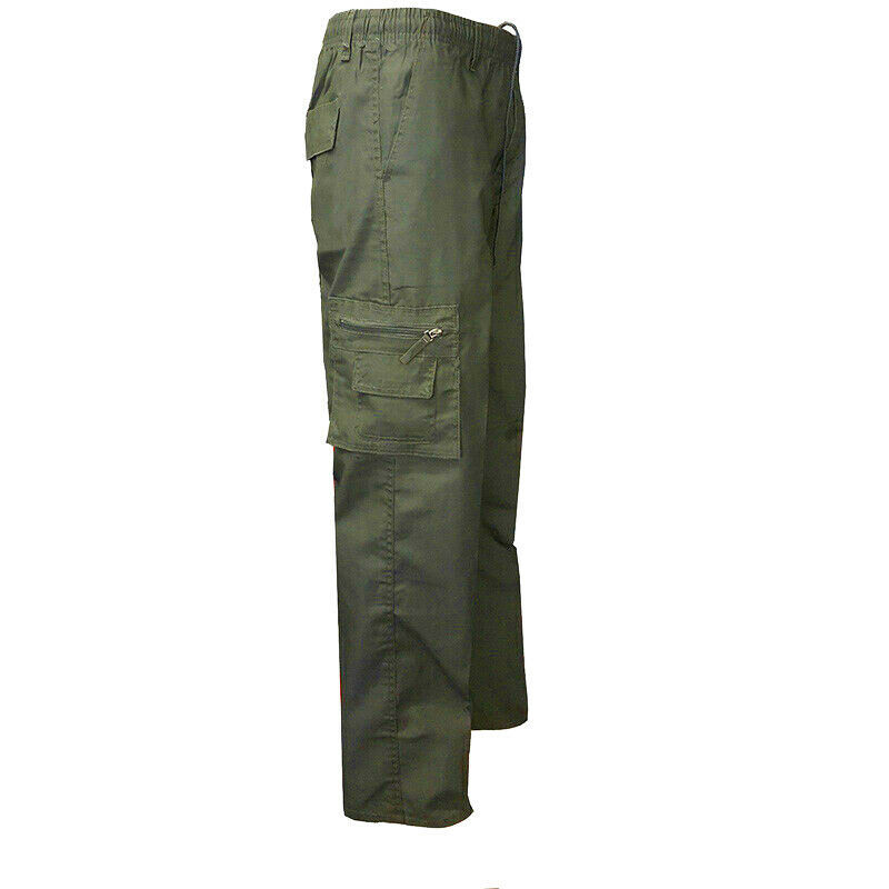 Men's Classic Elastic Waist Military Multi Pocket Army Style Cargo Pants - XS