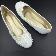 Women ivory flat shoes for wedding,wedding flat shoe with pearls,dressy flats - $38.00