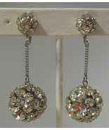 Vintage Signed Weiss Rhinestone Dangle Disco Ball Screw-on Earrings - $55.00