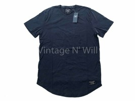 Abercrombie Fitch Jean Mens Navy Blue Curved Hem Classic Logo Crewneck T-Shirt - $17.09