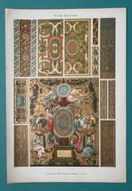 FRENCH RENAISSANCE Ornaments Borders Stucco Friezes - 1890s COLOR Litho ... - $27.00