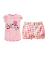 Gymboree Fruit Punch 5 Girls Sipping Lemonade Hats Top Gingham Plaid Sho... - $14.01