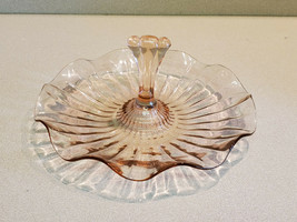 "Vintage 7 1/2"" Pink Depression Wavy Edge Glass Appetizer Tray with Handle - $14.80"
