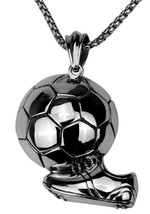 Jewelry Men's Stainless Steel Football Sport Necklace Pendant For Boy A... - $47.97