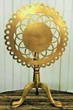 Antique 19th Century English Queen Anne Brass Pierced Tilt-Top Trivet Table - $221.76