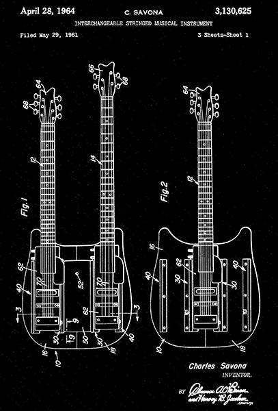 Primary image for 1964 - Guitar - Interchangeable Stringed Musical Instrument - Patent Art Poster