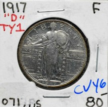 1917D Type 1 Standing Liberty Silver Quarter 25¢ Coin Lot CV46