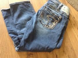 Silver Jeans Co Aiko Recortado Denim Bolsillos W 30 EUC - $16.75