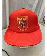 trucker hat baseball cap Vintage Snapback Mesh Patch Montana Saddle Cowboy - $39.99