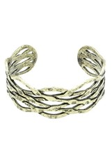 Aged Hammered CutOut Entwined Cuff Bracelet Gold-Tone image 2