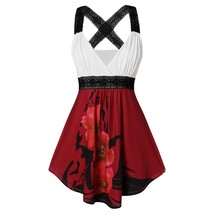 Plus Size Lace Insert Criss Cross Floral Tank(RED WINE 5X) - $20.20