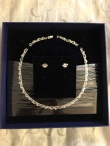 Swarovski White Rhodium Plated Mixed Shapes Necklace & Earrings Set Retired - $299.95