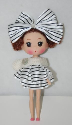 Doll Key Chain Black White Stripe Ruffled Dress With Matching Hair Bow