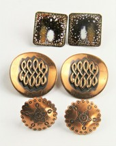 VINTAGE Jewelry LOT OF THREE PAIRS COPPER EARRINGS CONCHO ENAMEL + - $10.00