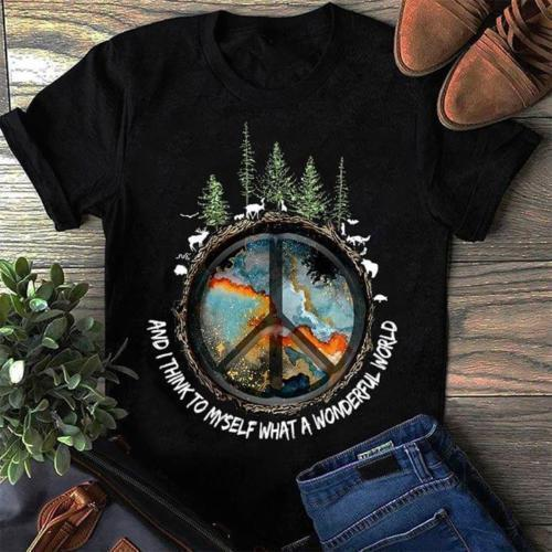 The Earth and I Think To Myself What A Wonderful World TShirt Cotton Ladies