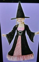 Girls Witch Black & Pink Long Hoop Dress & Hat 2 Pc Halloween Costume-size 7/8 - $17.82