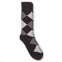 Ebony Argyle NEW Mens Dress Socks 6 12 Merona Gray Red - $12.00