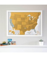 USA Map Scratch Off Print Poster Travel Journal Wall Hanging Home Office... - $46.52
