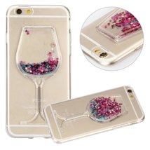 LG X Power Liquid Case,Handmade Sexy Lip Diamond Goblet Wine Glass Float... - $10.88