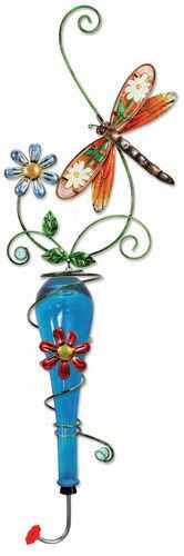 Painted Metal & Glass Dragonfly Garden Hanging Hummingbird Nectar Feeder