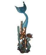 """Mermaid Diving for a Pearl Fountain Bronze Statue -  Size: 34""""L x 27""""W x... - $6,500.00"""