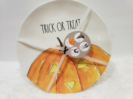 "Rae Dunn Halloween 8"" Plates Cat Owl Pumpkin, Witch Hat Set of 4 NEW  - $39.99"
