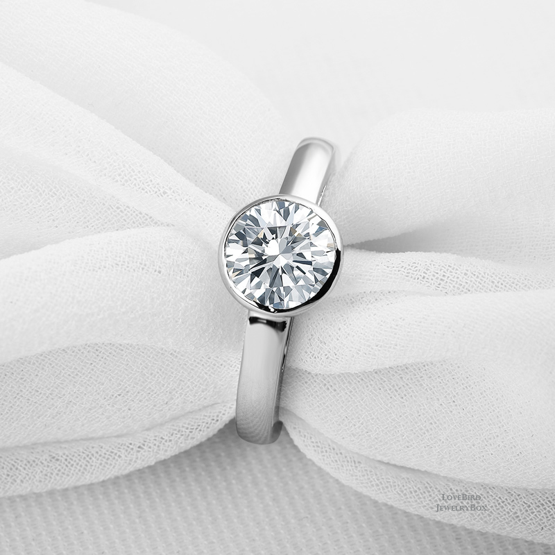 1.30 ct Round 925 Sterling Silver Cubic Zirconia Bezel Solitaire Engagement Ring