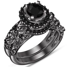 Round Cut Diamond Black Rhodium Finish Pure 925 Silver Wedding Bridal Ri... - $103.99