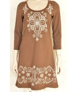 Johnny Was dress mini S brown white embroidery 3/4 ruched sleeve ruched ... - $49.49